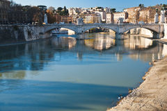 Bridge on Tiber river in Rome Royalty Free Stock Photography