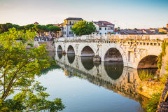 Bridge of Tiberius (Ponte di Tiberio) in Rimini Royalty Free Stock Images