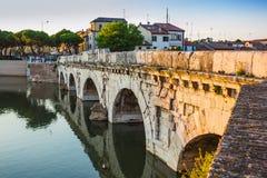 Bridge of Tiberius (Ponte di Tiberio) in Rimini Royalty Free Stock Photo
