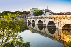 Bridge of Tiberius (Ponte di Tiberio) in Rimini Royalty Free Stock Photos