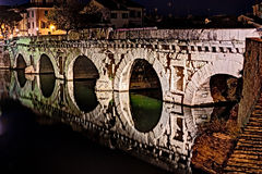 Bridge of Tiberius in Rimini, Italy Stock Image