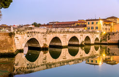 The Bridge of Tiberius in Rimini royalty free stock photography