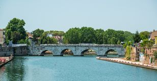 The bridge of Tiberius in Rimini, Italy. Ancient Bridge of Tiberius in Rimini, Italy Stock Photos