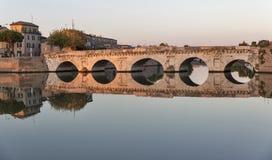 Bridge of Tiberius in Rimini, Italy. Stock Images