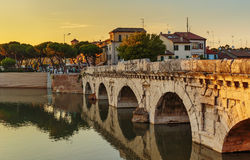 Bridge of Tiberius  in Rimini Royalty Free Stock Photo