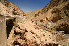 Bridge into Tibet. Bridge on the road from Xinjang province in China to Western Tibet Stock Photos