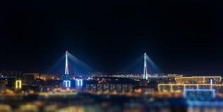 Bridge. Tilt-shift effect. Vladivostok, bridge. Night view. Tilt-shift effect Stock Photography