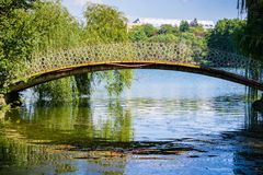 Bridge in Tineretului Park. Willow trees present on both sides of the bridge; Bucharest, Romania royalty free stock photo