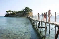 Bridge to Agios Sostis island in Laganas Stock Images