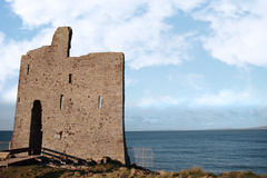 Bridge to ballybunions old castle ruins royalty free stock photography