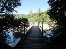 The Bridge to the Beach. The Right way to the beach stock photography