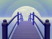 Bridge to blue sun - 3D render Stock Image