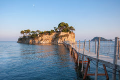 Bridge to Cameo Island at sunset, Zakynthos, Greece Royalty Free Stock Images