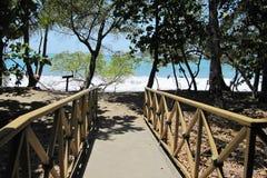 Bridge to the Caribbean beach Stock Image
