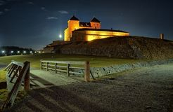 Bridge to the castle at night Stock Image