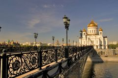 Bridge to cathedral. Moscow Cathedral of Christ the Savior. Russia royalty free stock image