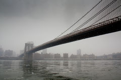 Bridge to the city (Brooklyn Bridge) Royalty Free Stock Photo