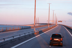 The bridge to the continent between Malmo Sweden and Copenhagen Royalty Free Stock Photos