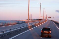 The bridge to the continent between Malmo Sweden and Copenhagen. Denmark, Oresundsbron in spring light Royalty Free Stock Photos