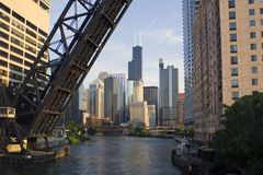 Bridge to Downtown Chicago Royalty Free Stock Image