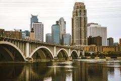 Bridge to Downtown Minneapolis. Downtown Minneapolis in a Rainy Day Royalty Free Stock Photography