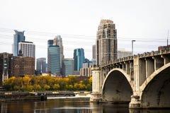 Bridge to Downtown Minneapolis. Skyline View Stock Photography