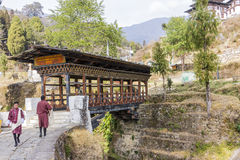 Bridge to the dzong Stock Images