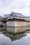 The bridge to entrance at hiroshima castle  with wall to protect Royalty Free Stock Image
