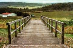 Bridge to the farm. Landscape with access to a farm in Virginia Stock Photo
