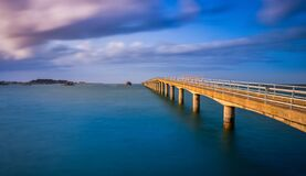 Free Bridge To Ferry To Ile De Batz In Roscoff, Brittany, France, Used During Low Tide Stock Photography - 183645772