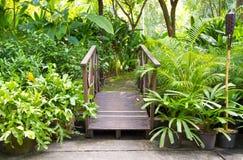 Bridge to the garden Stock Photo