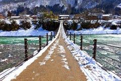 Bridge to Gassho-zukuri Village Royalty Free Stock Photos
