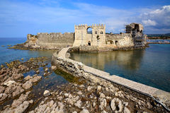 Bridge to the gate in Methoni Venetian Fortress in the Peloponnese, Messenia, Greece. Stock Photo