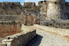 Bridge to the gate in Methoni Venetian Fortress in the Peloponnese, Messenia, Greece. Royalty Free Stock Images