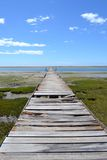 Bridge to the horizon. A long old bridge in wood going to he horizon royalty free stock photos