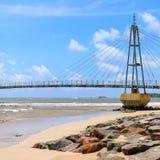Bridge to the island with Buddhist temple, Matara, Sri Lanka. Modern pedestrian bridge on an island in the ocean. Matara. Sri Lanka Stock Images