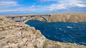 Bridge to the island of Pag. Holiday in Croatia island Pag Stock Images