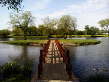 The bridge to the island. Park of polish Manor Pan. The bridge to the island royalty free stock photography
