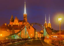 Bridge to island Tumski, Wroclaw, Poland Royalty Free Stock Photos