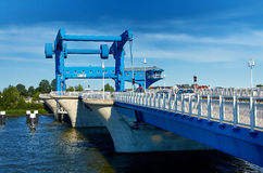 Bridge to isle of Usedom. Blue river bridge to isle of Usedom Stock Image