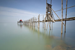 Bridge to Kelong. A slow shutter on the fishing bridge found at Batu Pahat, Malaysia Royalty Free Stock Image