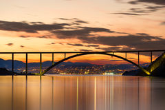 Bridge to Krk Island at sunset, Croatia Royalty Free Stock Photography