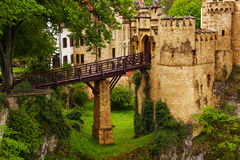 Bridge to the Lichtenstein castle in Germany Royalty Free Stock Photography