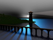 Bridge to lighthouse stock photo