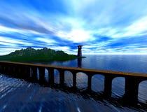 Bridge to lighthouse. Bridge leading on island to lighthouse,render 3d Stock Photo