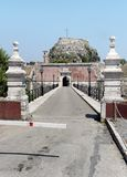 The bridge to main gate of the Old Fortress of Corfu in Greece over the Contrafossa channel. Royalty Free Stock Photo