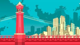 Bridge to megalopolis. Vector illustration of abstract city metropolis bridge over the river or canal Royalty Free Stock Photo