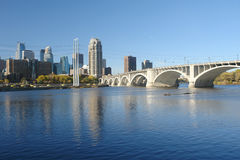 Bridge to Minneapolis. A picture of a long bridge to the Minneapolis skyline Stock Photo