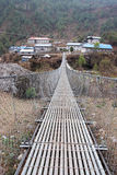 Bridge to nepalese village, Everest trail, Nepal Stock Image
