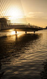 Bridge to nowhere. Bridge over the river Liffey at sunrise, Dublin, Ireland Stock Image